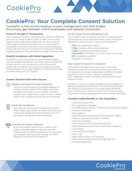 CookiePro overview