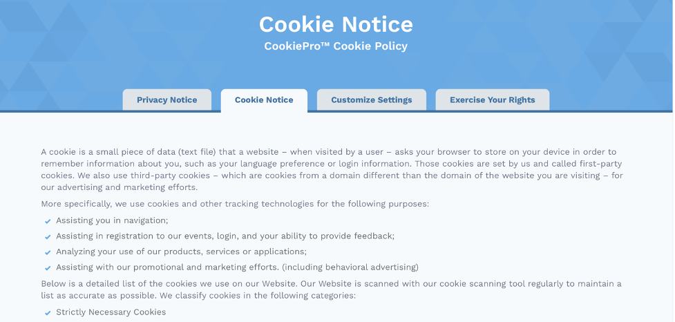 CookiePro Cookie Policy