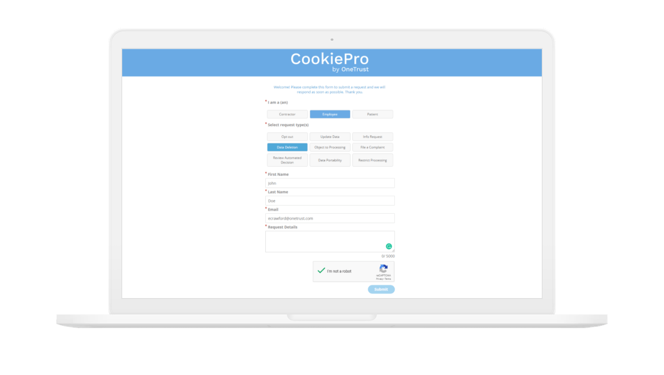 CookiePro DSAR Web Form