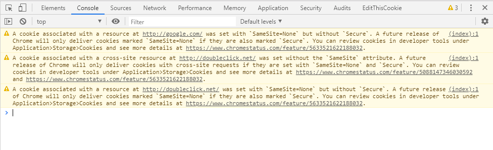 Chrome warning - samesite cookies