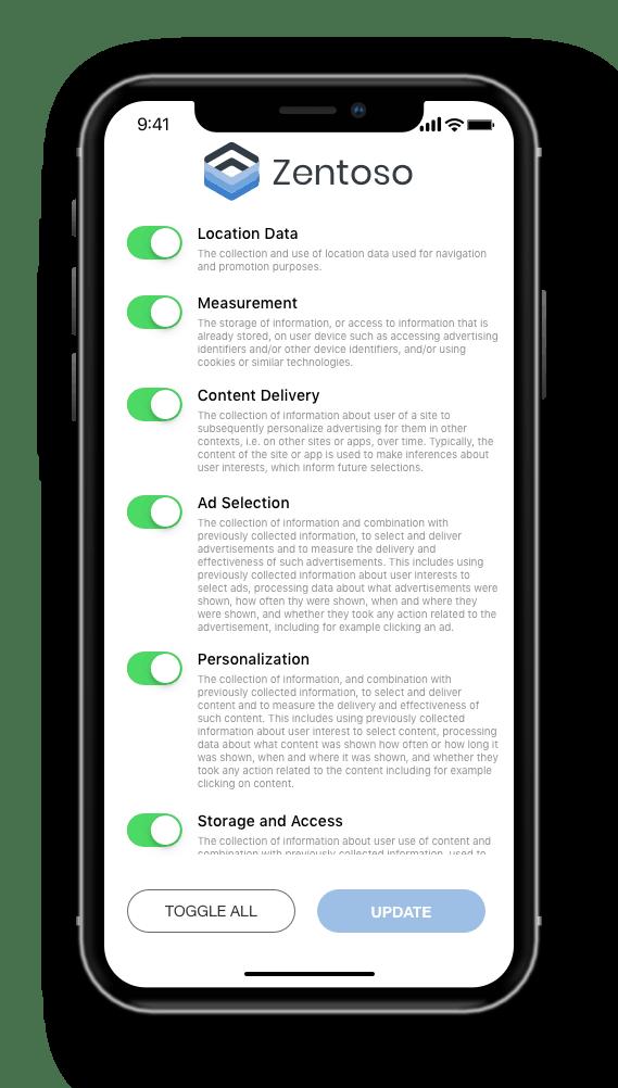 Mobile app preference center