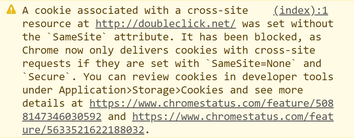 Google Chrome SameSite Cookie Attribute Warning
