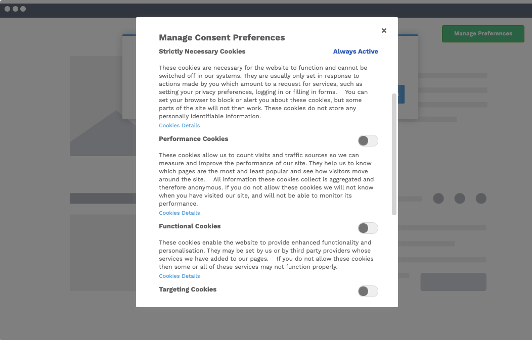 Opt-In Cookie Consent Banner